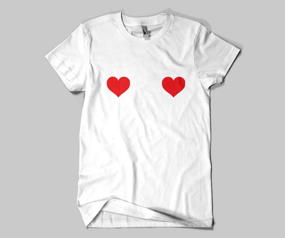Heart nipples T-shirt - Urbantshirts.co.uk