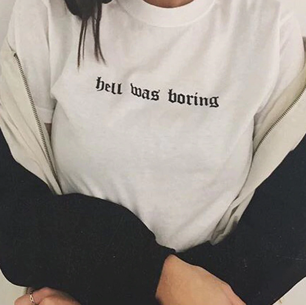 Hell was boring T-shirt - Urbantshirts.co.uk