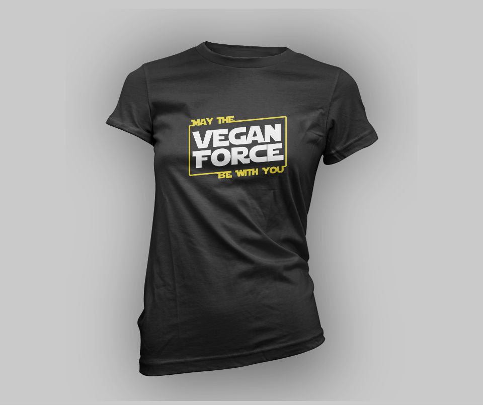 May the Vegan force be with you T-shirt - Urbantshirts.co.uk