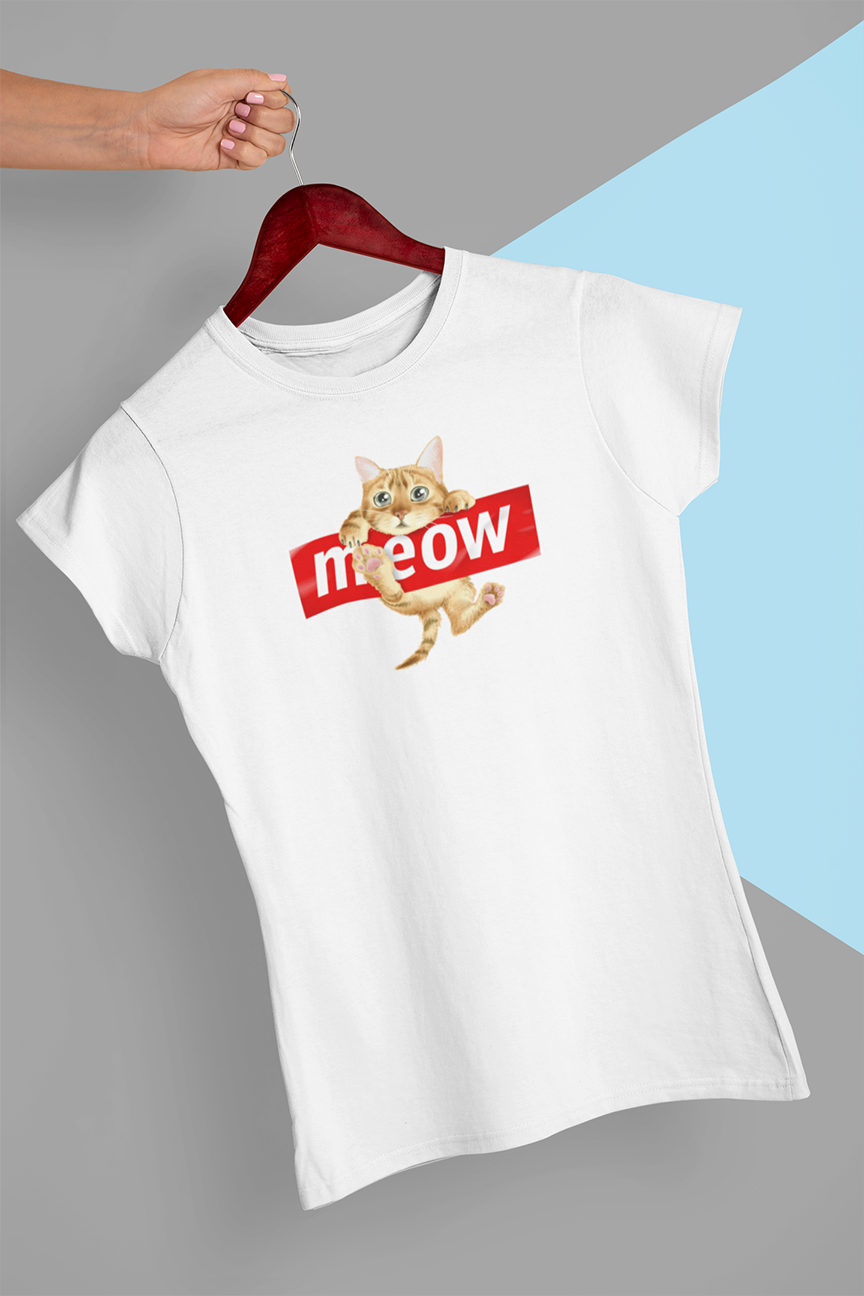 Meow kitty T-shirt - Urbantshirts.co.uk