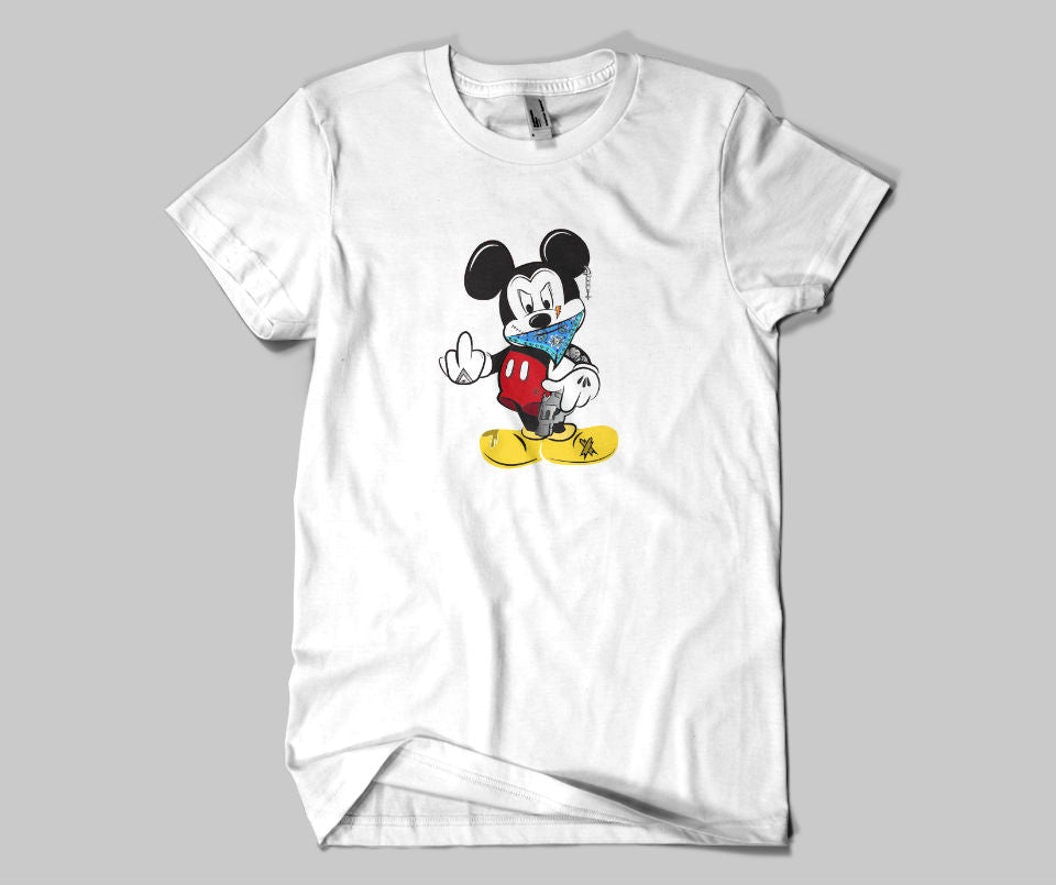 Mickey Mouse middle finger T-shirt - Urbantshirts.co.uk