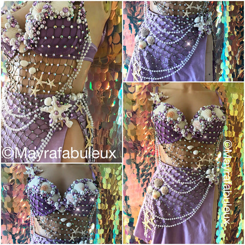 Purple Mermaid Rave Bra and Skirt - Complete Rave Outfit