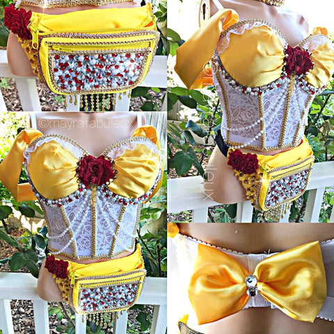 Belle from Beauty and The Beast Rave Corset