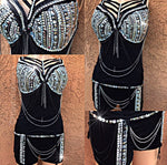 Diamonds and Spikes Caged Rave Corset and Bottoms Outfit