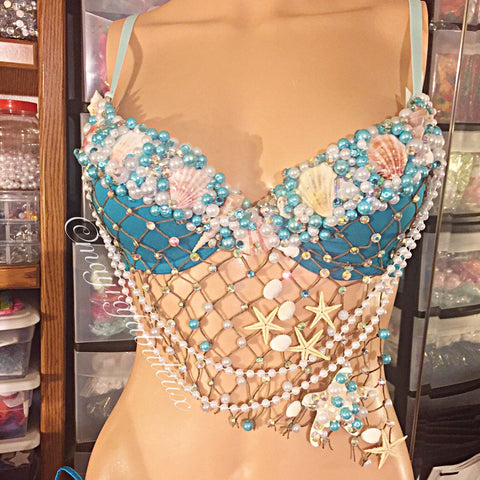 Blue Mermaid Rave Bra