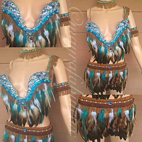 Complete Pocahontas Inspired Outfit: Plunge Bra, Skirt, Necklace, Arm Cuff