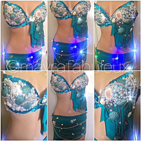 Light Up Blue Mermaid Bra and Skirt Set, Complete Outfit
