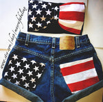 American Flag Vintage High Waisted Shorts
