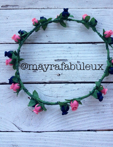 Navy and Pink Flower Crown