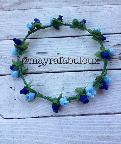 Navy and Sky Blue Roses Flower Crown