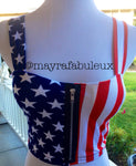 American Flag Crop Top Shirt