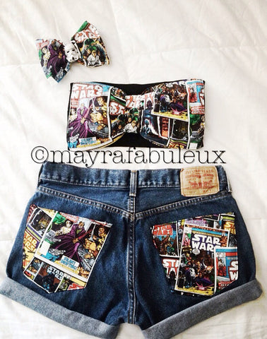 Star Wars 3 Piece Outfit: Bow, Bandeau, Shorts