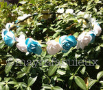 Blue and White Roses Flower Crown