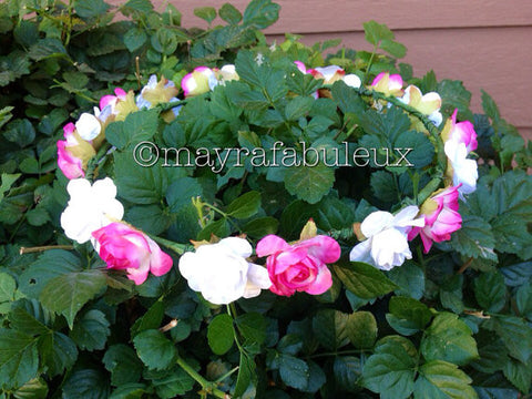 Pink and White Roses Flower Halo Crown