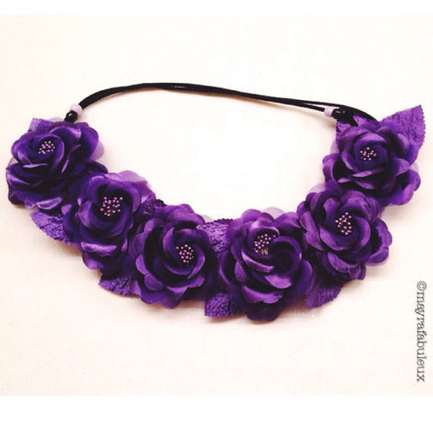 Purple Ariel Roses Flower Crown