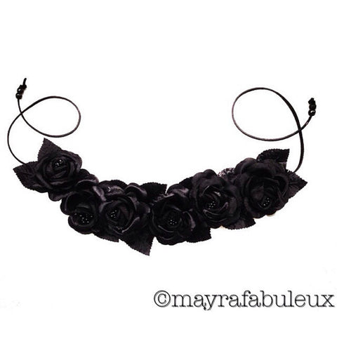 Midnight Black Roses Flower Crown