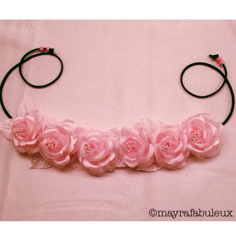 Pastel Pink Roses Flower Crown