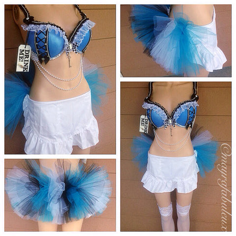 Alice In Wonderland Bra and Matching Bottoms Outfit.