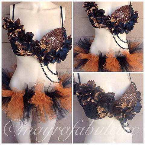 Orange and Black Spider Outfit: Bra and Tutu