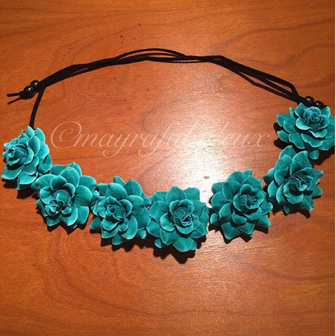 Turquoise Roses Flower Crown