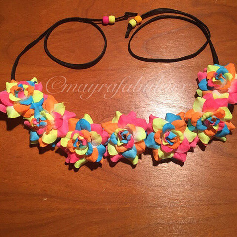 Glow Neon Rainbow Roses Flower Crown