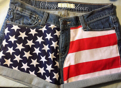Front Design American Flag Vintage High Waisted Shorts
