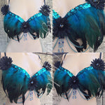Black and Blue Feather Bra