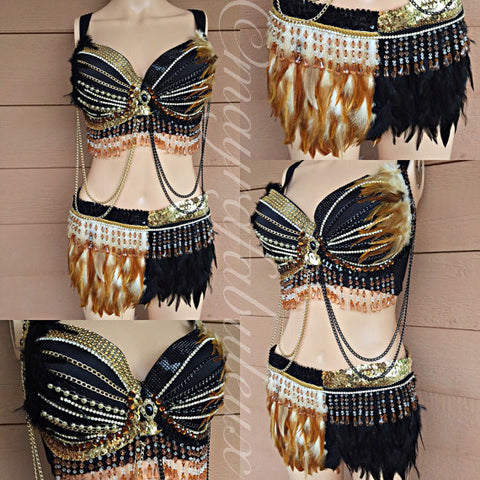 Black and Gold Feather Bra and Skirt Set
