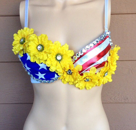American Flag Bra with Yellow Flowers.