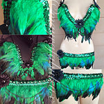 Green and Blue Feather Outfit: Plunge Bra and Bikini Bottoms