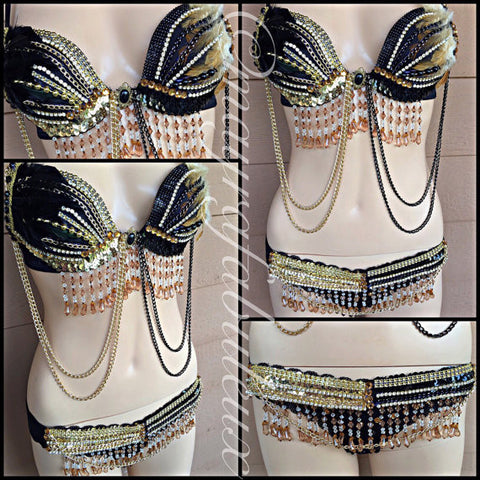 Black and Gold Feather Bra and Bikini Bottoms Set