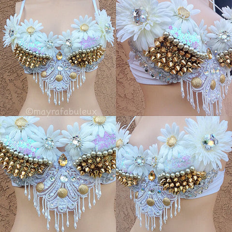 White and Gold Daisy Bra