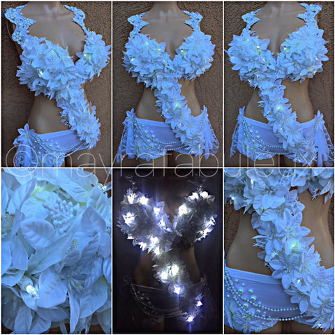 Light Up Led Snow Queen Monokini Complete Rave Outfit