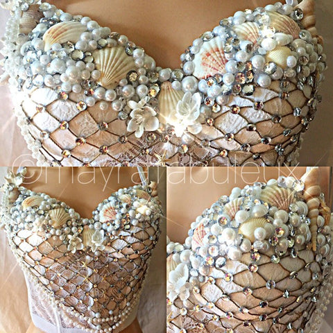 Crystal White and Silver Mermaid Rave Bustier