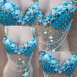 Sky Blue Mermaid Rave Bra