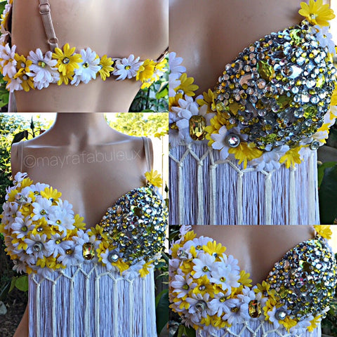 Crystal Yellow and White Daisy Rave Bra