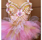 Pink and Gold Floral Bustier and Tutu Outfit