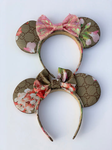 Floral Minnie Ears, Crystal Minnie Ears, Disney Ears