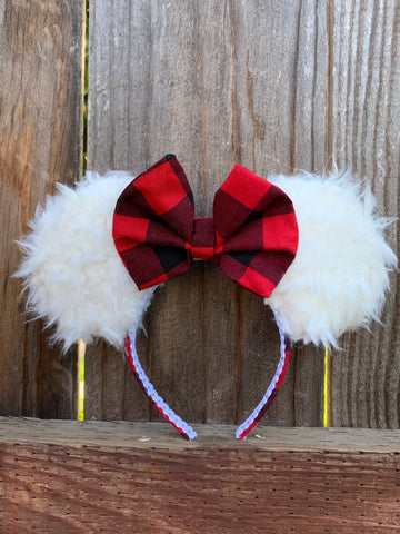 Plaidmas Minnie Ears, Disney Ears, Plaid Minnie Ears, Holiday Theme Minnie Ears
