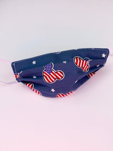 American Flag Mickey Face Mask, Cotton Face Mask, Filtered Face Mask