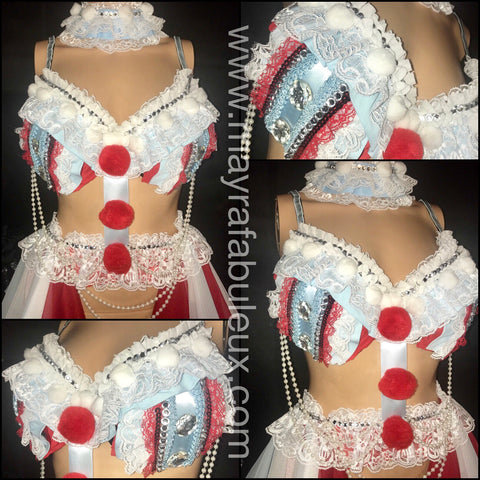 Pennywise from It Rave Bra and Matching Garter Belt - Halloween Costume