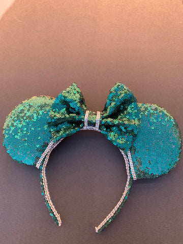 Green Sequin Minnie Ears, Mickey Ears, Disney Ears