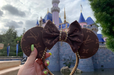 Brown Monogram Minnie Ears, Crystal Minnie Ears, Disney Mickey Ears