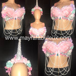 Pastel Unicorn Rave Bra and Unicorn Horn Flower Crown