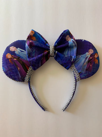 Frozen Minnie Ears, Elsa And Anna Minnie Ears, Disney Minnie Ears