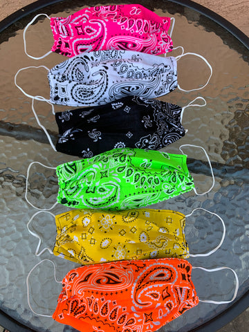 Bandana Cotton Face Mask, Paisley Face Mask, Filtered Neon Face Mask