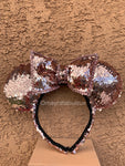 Rose Gold Sequin Minnie Ears, Mickey Ears, Disney Ears