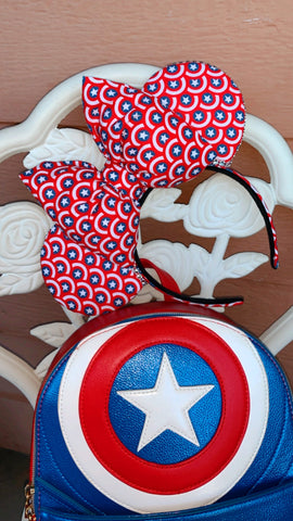 Captain America Minnie Ears, Mickey Ears, Disney Ears