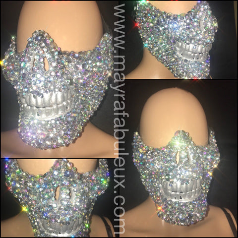 AB Crystals Rhinestoned Half Skeleton Mask