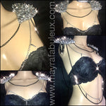 Spike and Crystals Shoulder Set with hanging chains.